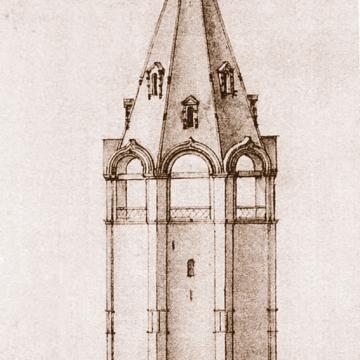 Чертеж соборной колокольни XVII века, выполненный А.И. Иваницким в 1860-е годы, из собрания Государственного исторического музея (ИЗО 42949/р-6577)