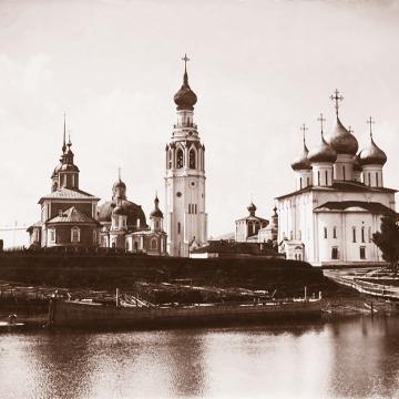 Вологодские соборы и церковь Александра Невского. Фото конца XIX века из собрания ВГИАХМЗ (ВОКМ 12017-1)