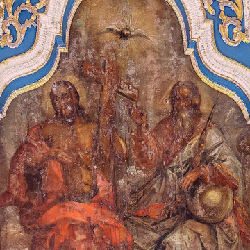 Святая Троица (Новозаветная). 134×54 см. Максим Искрицкий, 1736–1738 гг. (ВОКМ 16423/1)