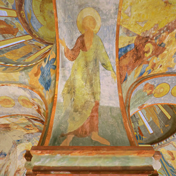 Апостол Матфей. Роспись восточной части южной подпружной арки северо-западного барабана.