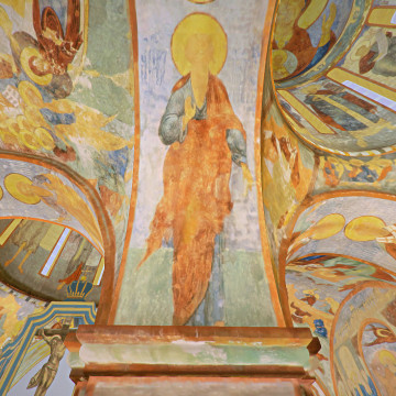 Апостол Иаков Алфеев. Роспись восточной части северной подпружной арки юго-западного барабана.